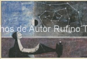Derechos-de-Autor-Rufino-Tamayo-Oleo-1950-Hombre frente al infinito