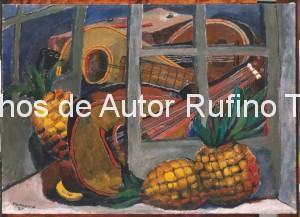 Derechos-de-Autor-Rufino-Tamayo-Oleo-1930-Mandolina y piñas