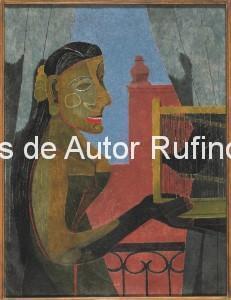 Derechos-de-Autor-Rufino-Tamayo-Oleo-1941-Mujer con jaula