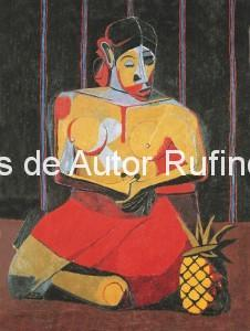 Derechos-de-Autor-Rufino-Tamayo-Oleo-1941-Mujer con piña