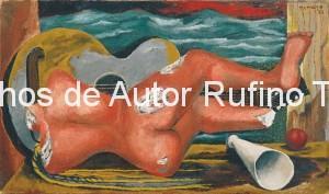 Derechos-de-Autor-Rufino-Tamayo-Oleo-1931-Naturaleza muerta con desnudo y guitarra