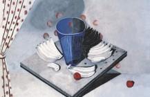Naturaleza muerta en blanco con vaso azul, 1940
