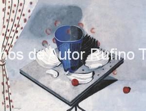 Derechos-de-Autor-Rufino-Tamayo-Oleo-1940-Naturaleza muerta en blanco con vaso azul