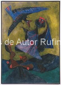 Derechos-de-Autor-Rufino-Tamayo-Oleo-1947-Niña atacada por un pájaros extraño