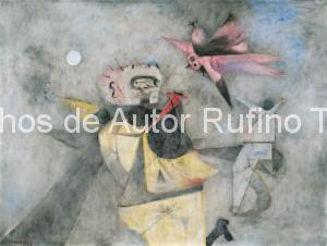 Derechos-de-Autor-Rufino-Tamayo-Oleo-1948-Pájaro agresivo