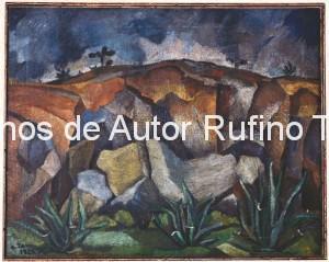 Derechos-de-Autor-Rufino-Tamayo-Oleo-1925-Paisaje con rocas