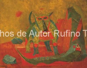 Derechos-de-Autor-Rufino-Tamayo-Oleo-1943-Perro y serpiente