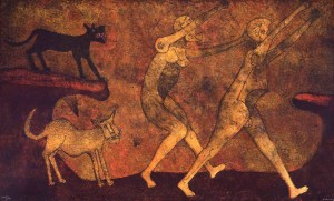 Dos personajes atacados por perros, 1983