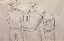 """Boceto para la acuarela """"Después del mercado"""", 1947"""