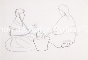 Dos mujeres sentadas, una de espalda y otra de perfil con canasta, 1950 E