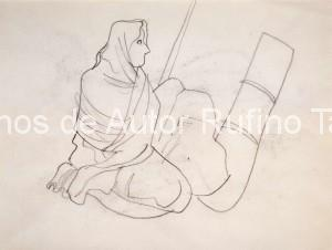 Mujer sentada con rebozo, 1950 E