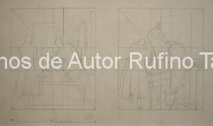 Tamayo, Rufino-Bocetos 1 y 2 para el mural no realizado en el King´s Hospital Brooklyn NY, 1936 E