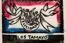 Tarjeta de felicitaciones dos palomas con listón, 1930